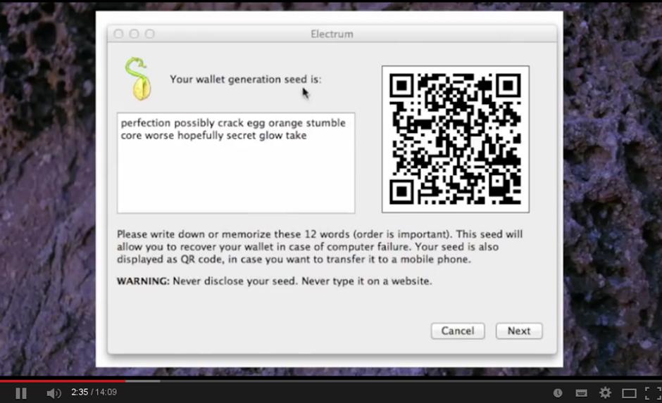 Electrum screenshot
